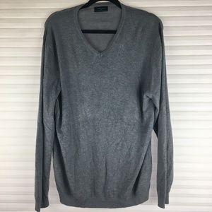 Zara Man Gray V-Neck Sweater Size XL